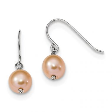 Quality Gold Sterling Silver RH 7-8mm Pink Round FWC Dangle Earrings
