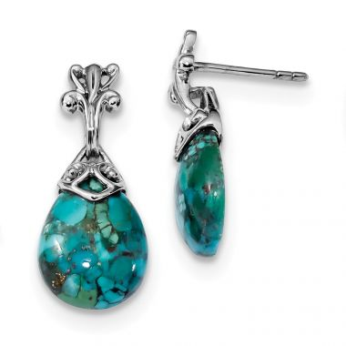 Quality Gold Sterling Silver Rhodium-plated  Reconstituted Turquoise Dangle Earrings