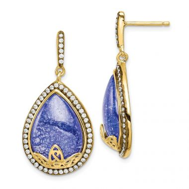 Quality Gold Sterling Silver Gold-tone CZ and Cracked Blue CZ Dangle Post Earrings