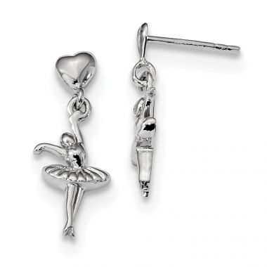 Quality Gold Sterling Silver Rhodium-plated Ballerina Dangle Post Earrings