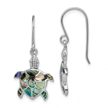 Quality Gold Sterling Silver Rhodium-plated Polished Abalone Turtle Dangle Earrings