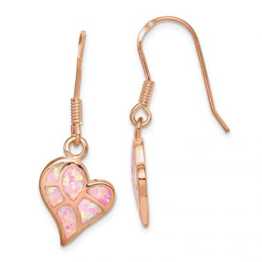 Quality Gold Sterling Silver Rose-tone  Opal Inlay Heart Dangle Earrings