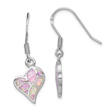 Quality Gold Sterling Silver Rhodium-plated  Pink Opal Inlay Heart Dangle Earring