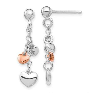 Quality Gold Sterling Silver Rhodium-plated & Rose gold-plated Heart Dangle Post Earring