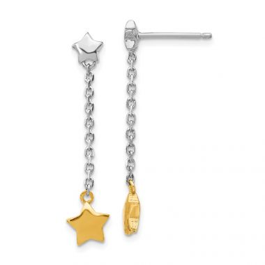 Quality Gold Sterling Silver Rhodium-plated & Gold-plated Star Dangle Post Earrings