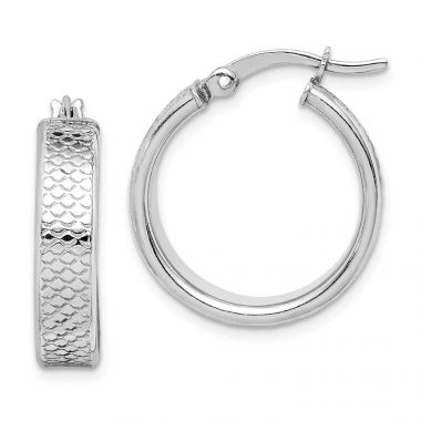 Quality Gold Sterling Silver Rhodium-plated Textured Polished Hoop Earrings
