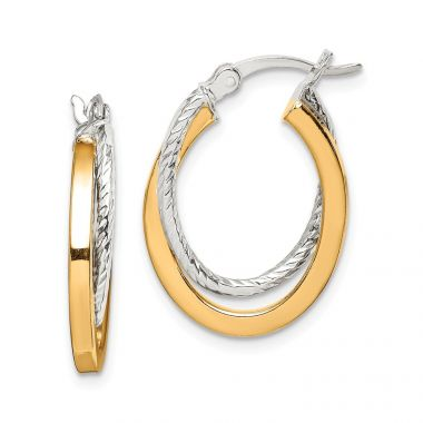 Quality Gold Sterling Silver & Gold Tone Twisted Hoop Earrings