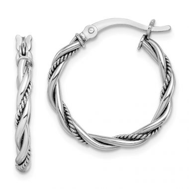 Quality Gold Sterling Silver Rhodium-plated Antiqued Twisted Hoop Earrings