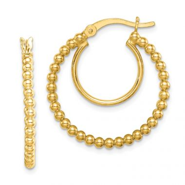 Quality Gold Sterling Silver Gold Tone Beaded Hoop Earrings