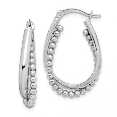 Quality Gold Sterling Silver Rhodium-plated Beaded Hoop Earrings