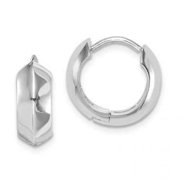Quality Gold Sterling Silver Rhodium-plated Knife Edge Hinged Hoop Earrings