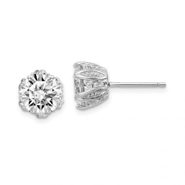 Quality Gold Sterling Silver Rhod-plated CZ Stud Earrings