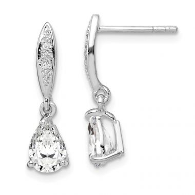 Quality Gold Sterling Silver Rhodium-plated 7x5 Pear CZ Post Dangle Earrings