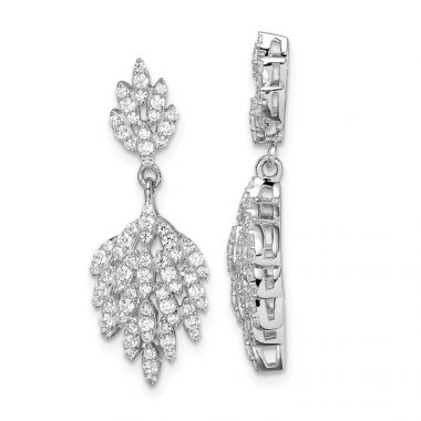 Quality Gold Sterling Silver Rhodium-plated CZ Leaf Dangle Post Earrings