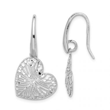 Quality Gold Sterling Silver Rhodium-plated Brushed & Polished  Heart Dangle Earrings