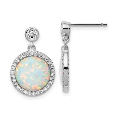 Quality Gold Sterling Silver Rhodium-plated Lab Created Opal & CZ Post Dangle Earrings