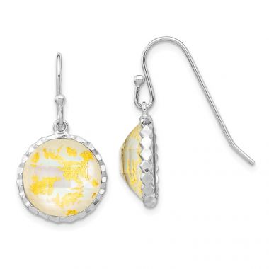 Quality Gold Sterling Silver Rhodium-plated Round Mother Of Pearl Dangle Earrings
