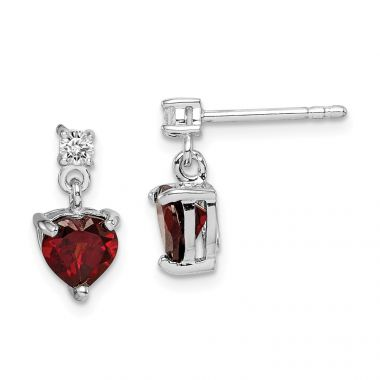 Quality Gold Sterling Silver Rhodium-plated Heart Garnet White Topaz Dangle Earrings