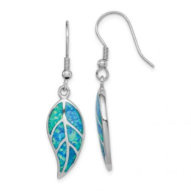 Quality Gold Sterling Silver Rhodium-plated Created Blue Opal Leaf Dangle Earrings