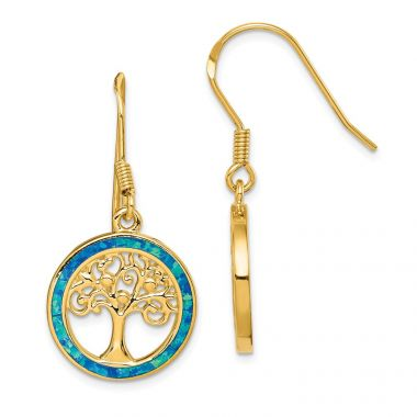 Quality Gold Sterling Silver Gold-tone Created Opal Circle  Tree Dangle Earrings