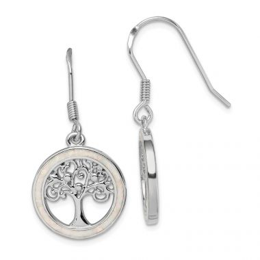 Quality Gold Sterling Silver Rhodium-plated Created Opal Circle   Tree Dangle Earrings