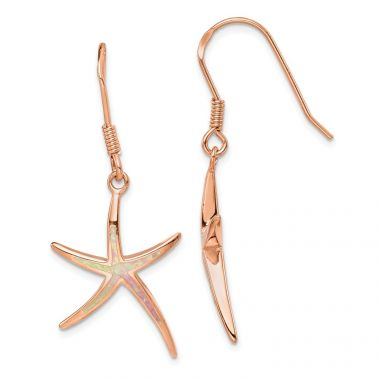 Quality Gold Sterling Silver Rose-tone  Opal Inlay Star Fish Dangle Earrings
