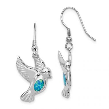 Quality Gold Sterling Silver Rhodium-plated Created Blue Opal Bird Dangle Earrings