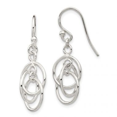 Quality Gold Sterling Silver Polished Dangle Earrings