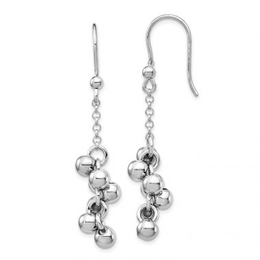 Quality Gold Sterling Silver Rhodium-plated Beads Dangle Earrings