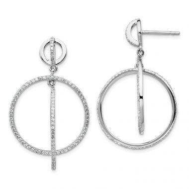 Quality Gold Sterling Silver Rhodium-plated CZ Circles Dangle Post Earrings