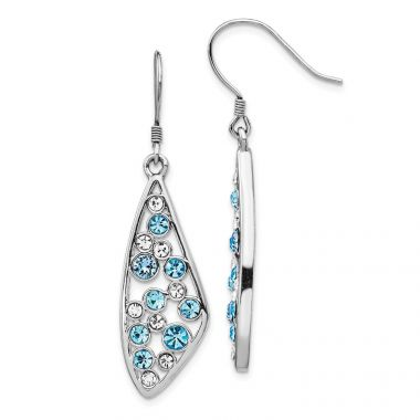 Quality Gold Sterling Silver Rhodium-plated Clear & Blue Crystal Wing Dangle Earrings