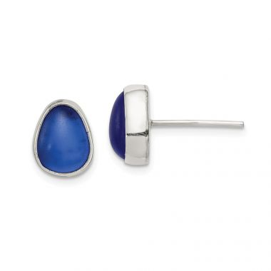 Quality Gold Sterling Silver Blue Sea Glass Stud Earrings