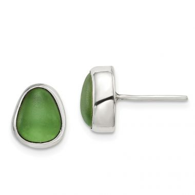 Quality Gold Sterling Silver Green Sea Glass Stud Earrings