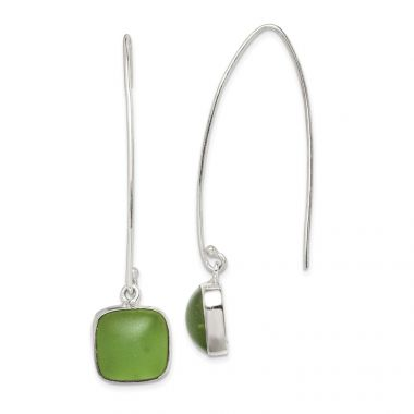 Quality Gold Sterling Silver Green Sea Glass Dangle Earrings