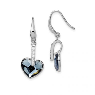 Quality Gold Sterling Silver Rhodium-plated Clear & Blue Crystal Heart Dangle Earrings