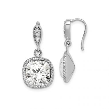 Quality Gold Sterling Silver Rhodium-plated Clear Cushion Crystal Dangle Earrings