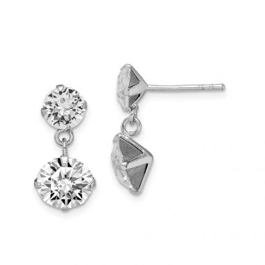 Quality Gold Sterling Silver Rhodium-plated Swarovski Crystal Dangle Post Earrings