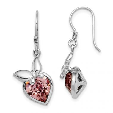 Quality Gold Sterling Silver Rhodium-plated Pink Crystal Butterfly Heart Dangle Earrings