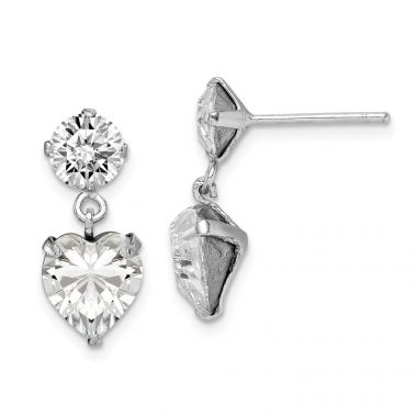 Quality Gold Sterling Silver Rhodium-plated Swarovski Crystal Heart Dangle Post Earrings