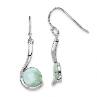 Quality Gold Sterling Silver Rhodium-plated Larimar Swirl Dangle Earrings