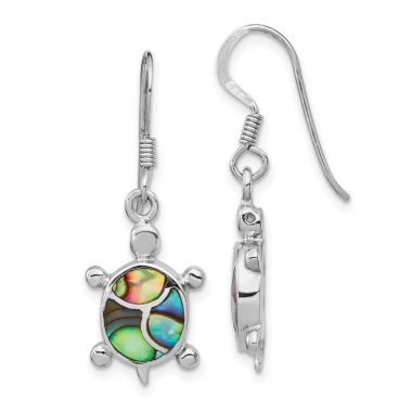 Quality Gold Sterling Silver Rhodium-plated Abalone Turtle Dangle Earrings