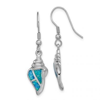Quality Gold Sterling Silver Rhodium-plated Created Blue Opal Seashell Dangle Earrings