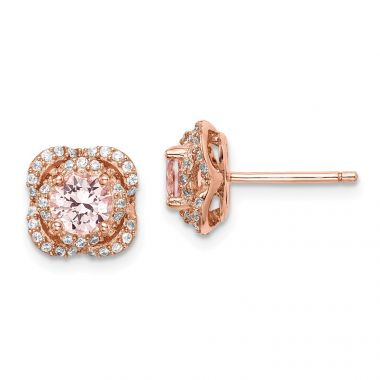 Quality Gold Sterling Silver Rose Gold-plated Imitation Pink Sapp  White CZ Stud Earring