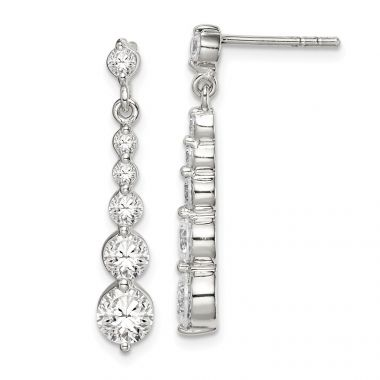Quality Gold Sterling Silver CZ Post Dangle Earrings