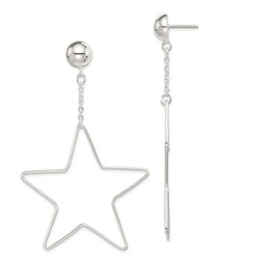 Quality Gold Sterling Silver Star Dangle Post Earrings