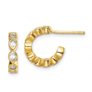 Quality Gold Sterling Silver Gold-tone CZ Hoop Earrings