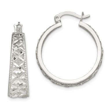 Quality Gold Sterling Silver Diamond-cut X Hoop Earrings