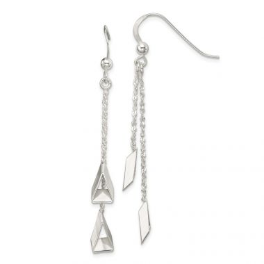 Quality Gold Sterling Silver 3-D Triangle Dangle Earrings