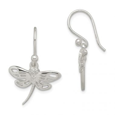 Quality Gold Sterling Silver CZ Dragonfly Dangle Earrings