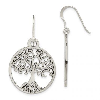 Quality Gold Sterling Silver Tree of Life Dangle Earrings